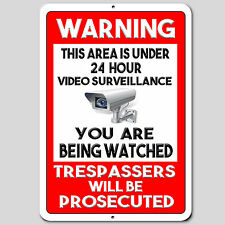 """Warning This Property Under 24 Hour Video Surveillance Aluminum Sign 8"""" x 12"""""""