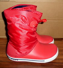 WOMENS CROCS CROCBAND II RED LACE BOOTS WARM RAIN SNOW BOOTS SIZE 6 MINT