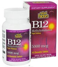 B12, Methylcobalamin, High Potency, 5000 mcg, 60 Tabs