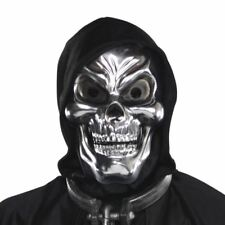 Adults Silver Skull 3D Plastic Mask Grim Reaper Death Halloween Costume