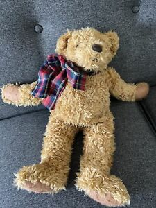 "Avon 1996 Working Kids Mr. Maxx The Snoring Bear 17"" Plaid Bow"