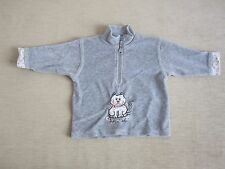 Pullover Fleecepullover in grau mit Katzenmotiv in Gr. 74 von Topolino