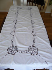 "Vintage Tablecloth 64""X112"" OBLONG White Cutouts Lace Banquet Wedding Dowry MINT"