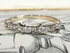 Antique Style 14ct White Gold Mossanite Half Eternity Ring-Size UK L & 3/4