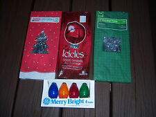 Older 3 Pks Xmas 1000 Strands Triditional Tinsel Silver Icicles & Bulb Pack