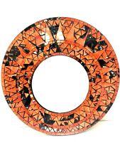 """Mosaic Mirror Garden Hanging Orange Inlay Round 24"""" D Bali  by Zenda Imports"""