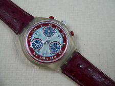 1993 Swiss Swatch Watch Chronograph Windmill  SCK103  Leather Band