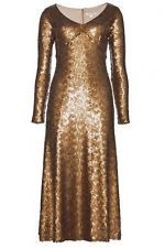 NWT $4000 Marc Jacobs Gold Brushed Metal Sequin Cocktail Dress SIZE 4