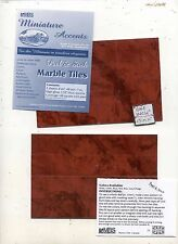 """Marble Tiles"" Peel & Stick Plastic Flooring Sheet-1/12 scale MB MT12R  6""x8"""