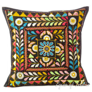 "16"" Black Patchwork Decorative Pillow Cushion Cover Case Couch Sofa Throw Bohemi"