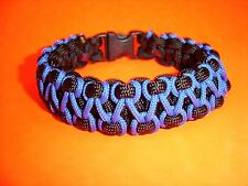 New 550 ParaCord Zig Zag Stitched Cobra Braided Bracelet Thin Blue Line on Black