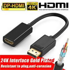 4K DP To HDMI Female Cable Adapter Converter DisplayPort for HDTV PC HP/DELL US