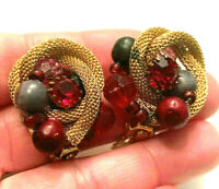 Vintage Gold Tone Mesh Cluster Beaded Clip On Earrings