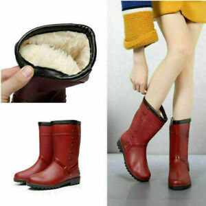 Ladies Winter Warm Rain Flat Chelsea Ankle Wellies Wellington Women' Boots UK SZ