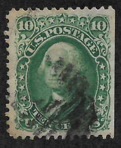 US #68 (1861) 10c Washington - Green - Used - VF/XF
