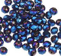 15 Irisierend Blau 10mm Rondell Tschechische Kristall Perlen Glas BEST X249