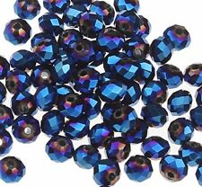 GLASPERLEN RONDELL 10mm TSCHECHISCHE KRISTALL PERLEN Blau Irisierend BEST X249