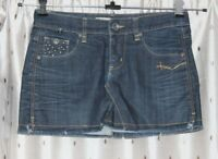 "FREEMAN T. PORTER Short Frayed Denim Skirt ~ Size M ~ 32"" Waist ~ 12"" Long"
