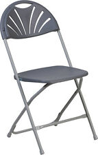 (10 PACK) 650Lb Capacity Commercial Grade FanBack Charcoal Plastic Folding Chair