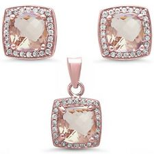Rose Gold Plated Morganite & Cz .925 Sterling Silver Pendant & Earring
