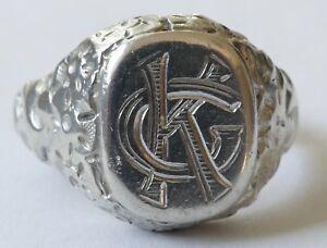 "Siegelring Herrenring mit Monogramm "" GK "" Silber Vintage 60er ring silver"