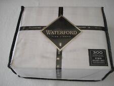 Waterford Fine Linens KING XDeep Sheet set White Damask Stripe AGATHA LUXURY