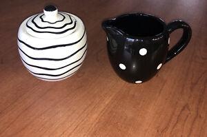 Polka Dot Creamer & Swirls On Sugar Bowl By Berrywear. Black & White HOME DECOR