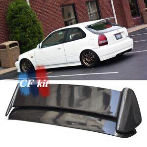 For 96-00 Honda Civic EK Hatchback Carbon Fiber Rear Trunk Spoiler Wing w/ LED