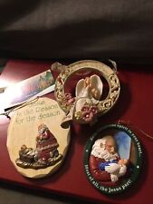 3 Christmas Ornaments:Roman Inc Santa,Abbey Press Santa,Peace on Earth Angel
