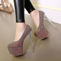 Women Sequin Nightclub Shoes Platform Super High Heel Shoes Pump Party Plus Size