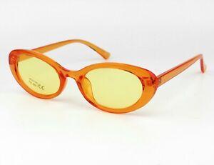 Womens Oval Plastic Frame Retro Sunglasses 80s Shades UV400 Protection