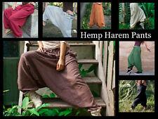 Hemp Harem Pants Hippie Aladdin Plain Loose Boho Yoga Festival Comfy Gypsy