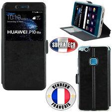 Etui Rabattable Simili Cuir Noir avec Ouverture Ecran pour Huawei P10 Lite