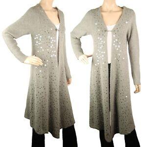 ConMiGo CC110 Glamorous Long Grey Angora Sequin Cardigan
