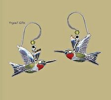 Bamboo Jewelry Ruby Throated HUMMINGBIRD Cloisonne EARRINGS Enamel STERLING  Box