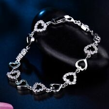 Unique Chic Lady Charms Silver Gold Filled Swarovski Crystal Chain Cuff Bracelet
