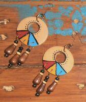 Handmade Boho Ethnic Hippie Beaded Hand-Painted Wooden Dangle Gift Earrings