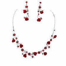 Red Rose Flower Glittery Crystal Rhinestone Necklace & Earring Set