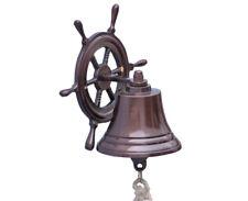 "Copper Finish Solid Aluminum Bell 6"" w/ Ship's Steering Wheel Bracket Wall Decor"