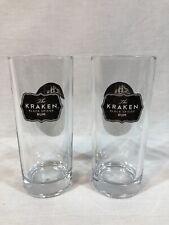 """Set of 2 Kraken Black Spiced Rum Clear 6"""" Tall Glasses"""
