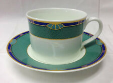 "HUTSCHENREUTHER ""SAVONA"" GREEN TEACUP & SAUCER BONE CHINA NEW GERMANY"