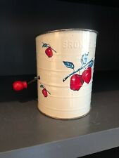 Vtg Brownwell's Flour Sifter Red Apples 3 Cup Measure Red Knob On Handle