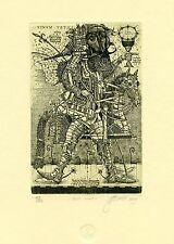 """ Old Vine""  Knight, Horse, Surrealistic  Ex libris Etching by Oleg Denisenko"
