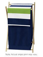 Kids Childrens Clothes Laundry Hamper For Sweet Jojo Blue & Green Stripe Bedding