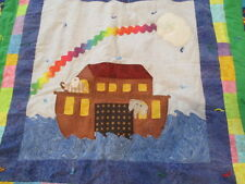 "Noah's Ark Handmade Crib Quilt Nursery Toddler Bedding Animal Print 43""x41"""