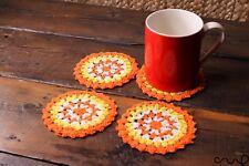 Set 4 Orange Stripes Handmade Crochet Round Coasters Vintage Chic Doily Yellow