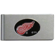 Detroit Red Wings Brushed Metal Money Clip with Team Logo NHL Licensed Hockey