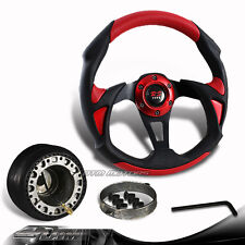320mm Black/Red PVC Racing Steering Wheel + Hub For Toyota Scion Honda Acura