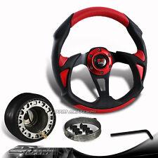 320mm Black/Red PVC Racing Steering Wheel + Hub For Toyota Scion Honda Acura