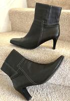 "Lotus Black Leather Ankle Boots Uk 8 Women's Square Toe 3"" Block Heel"